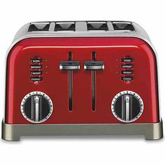 Cuisinart Red Toaster at Lowe's. The Cuisinart Metal Classic Toaster in Metallic Red has a smooth brushed stainless housing with polished chrome and black accents. Stainless Steel Toaster, Brushed Stainless Steel, Small Appliances, Kitchen Appliances, Kitchen Gadgets, Vintage Appliances, Style