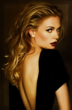 Anna Paquin by MaxTegman: sophisticated makeup--light browns with deep red lips--soft curls. Timeless beauty
