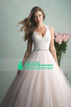 2015 V-Ausschnitt Tüll Brautkleider A-Linie mit Applikationen und Perlen