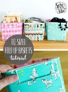 Sew a Fat Quarter-Sized Fold Up Basket!