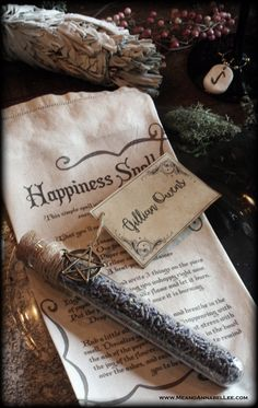 Witches Dinner Party   DIY Spell Napkins   Herbal Tea Favors and Tea Stained Seating Cards   Pentagram   Sage Smudging Bundles   Witchcraft   Happiness Spell   Rune Stone Wine Charms   www.MeandAnnabelLee.com