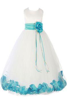 Mint Green Satin & Tulle Flower Petal Dress w Sash (160-SASH)