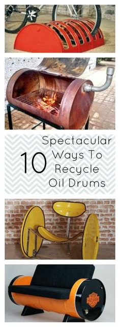 These ideas for recycling used oil drums will inspire you to try sone yourself! Turn something old into something spectacular. by mariam Barrel Projects, Metal Projects, Welding Projects, Projects To Try, Car Furniture, Barrel Furniture, Furniture Projects, Oil Barrel, Metal Barrel
