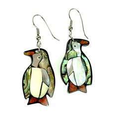 SOLD! Penguin Pierced Earrings Abalone MOP Shell by ClarasChicBoutique