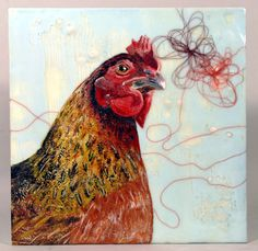 Coco - Encaustic Painting - 2009 Chicken series