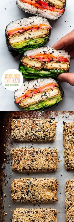 Tofu onigirazu is an exteremely satisfying sushi sandwich. It's packed with flavour, it's naturally gluten-free and full of plant protein. Healthy Sandwich Recipes, Healthy Sandwiches, Tofu Recipes, Appetizer Recipes, Vegetarian Recipes, Vegetarian Appetizers, Vegan Recipes Beginner, Healthy Recipes On A Budget, Onigirazu