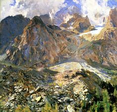 bofransson: Val d'Aosta (also known as The Moraine) John Singer Sargent - circa 1907 Watercolor Landscape, Landscape Art, Landscape Paintings, Monet, Rodin, John Singer Sargent Watercolors, Beaux Arts Paris, Impressionist Paintings, Mountain Landscape