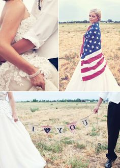 4th of July Americana Wedding. I love the bride wrapped in the flag.