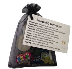 Bridesmaid Survival Kit in Black Thank you gift & card keepsake. Novelty wedding gift: Amazon.co.uk: Office Products