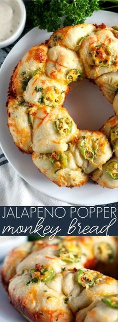 Jalapeño Popper Monkey Bread Can't choose between cream cheese or cheddar cheese jalapeno poppers? This Jalapeno Popper Monkey Bread combines the best of both in a fun, pull-apart style bread! Jalapeno Poppers, New Recipes, Cooking Recipes, Favorite Recipes, Recipies, Bread Recipes, Jalapeno Recipes, Canned Biscuits, Sandwiches