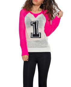 Contrast Color Number Print Knitwear