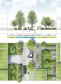 Coupe-plan sur voie tertiaire … Cut-off on tertiary track But Landscape And Urbanism, Landscape Architecture Design, Architecture Graphics, Urban Architecture, Landscape Plans, Concept Architecture, Urban Landscape, Architecture Diagrams, Architecture Portfolio