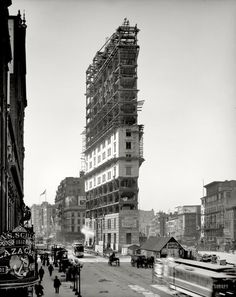 New York Times building under construction in ca. 1903, in a place soon to be called Times Square