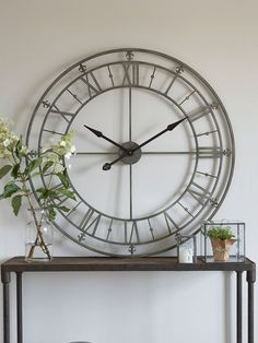 Huge Iron Wall Clock - amazing piece to make a focal point in the living room or hallway. Wall, Iron Wall, Large Wall Clock Decor, Large Iron Wall Clock, Wall Decor Bedroom, Wall Clocks Living Room, Hallway Wall Decor, Diy Wall Decor For Bedroom, Clock