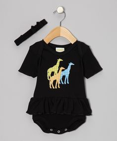 This PAM Black Giraffe Skirted Bodysuit & Headband - Infant by PAM is perfect! #zulilyfinds