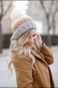 Chunky Knit Hat Slouchy Pom Pom- Ellicott Hat eb2921df828