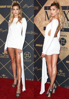 Hailey Baldwin stuns in a white Alexandre Vauthier couture dress at Maxim Hot 100 Party - June 2017