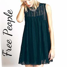 ❤ HOST PICK FREE ️PEOPLE black lace dress Free People beautiful  black lace baby doll free flowing dress. Currently sold on their website for $128. Fun exposed back zipper. The last pic is of same dress but beige color so you can see the lace detail better since black is so hard to photograph. Worn once. You can check the free people website for reviews and comments on this dress to get a better idea of fit and satisfaction. Why buy it from the website when I have it for waaaay less! Free…