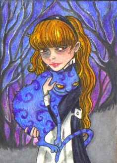 "ACEO (2.5""x 3.5"") ~CHERISHED CHESHIRE~ Water soluble colored pencil and gouache on bristol. (sold)"