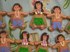 Gingerbread Luau Party Hawaiian Hula Girl and Boy Cookies