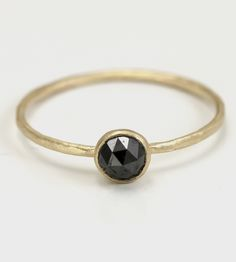Black Diamond & Gold Ring /