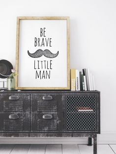 Be Brave Little Man Printable Mustache Large Boys Room Nursery Wall Art Kids Baby Boy Quote Black And White Decor Nursery Affiche Scandinave by WhitePrintDesign on Etsy