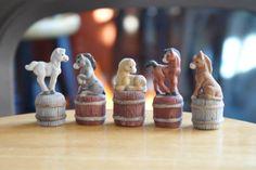 Old Vintage Lot Set 5 Farm Animals Horses Ponies Thimbles 1986 Kathy Wise Enesco