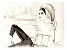 Elena Tsaregradskaya/portrait of Brigitte Bardoit in St Tropez/France/illustration for Jean Louis David beauty salon/Moscow