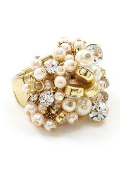 ADIA KIBUR Ivory Pearl Beaded Ring