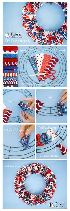 DIY Fabric Wreath step by step! Find your favorite Fabric Palette brand fabrics at Walmart and create your own!