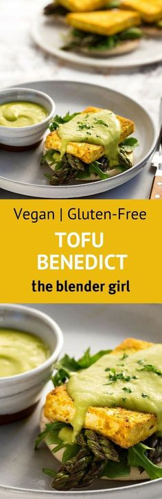 This vegan tofu benedict from Hannah Kaminsky is a great plant-based spin on the classic eggs benedict. #theblendergirl #vegantofubenedict #tofubenedictrecipe #vegan #veganbreakfast #glutenfreebenedict #breakfast #plantbased