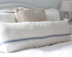 Beige Tan Grain Sack Feed Sack Style Couch or Bed Pillow