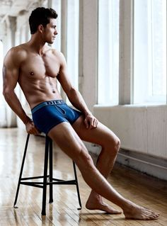 Blue trunks - A Chiseled Adam Senn Stars in Simons Spring/Summer 2013 Underwear Lookbook