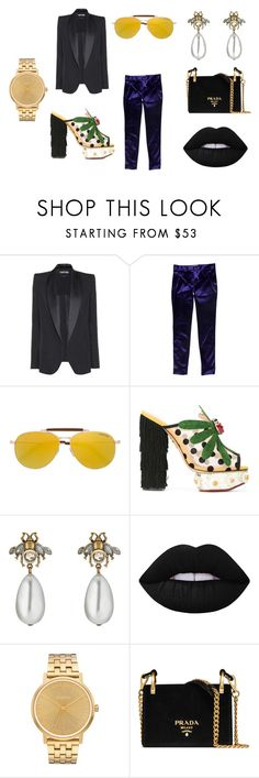 """""""Beetle Juice"""" by arjutoonline on Polyvore featuring Tom Ford, Charlotte Olympia, Gucci, Lime Crime, Nixon and Prada"""