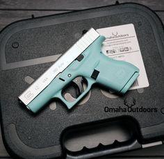 Glock 42 Tiffany Blue / Stainless 380 ACP 6 RDS 3.25″ Handgun - Omaha Outdoors