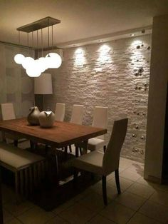 Magnificent Floating shelves bedroom ikea,Bathroom floating shelves above toilet and Floating shelves kitchen pictures. Stone Cladding, Wall Cladding, Dining Room Design, Dining Room Table, Dining Chairs, Floating Shelves Bedroom, Dinner Room, Living Room Decor, Sweet Home