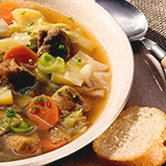 (Ahrensburger Kohlsuppe) Healthy and hearty cabbage soup flavored by bacon, onions, chopped vegetables and Hela curry sauce. Recipe courtesy of Hela.