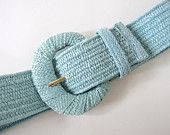 Vintage 1980's Aqua Wide Stretch Woven Straw Belt, Modern Size up to 12, Medium