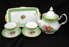 TEA FOR TWO Royal Albert England Old Country Roses Green Border rare large teapot tea cup and saucer sandwich tray set