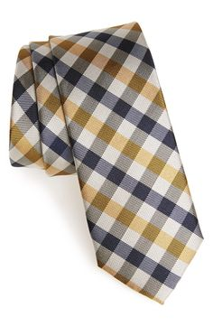 1901 'Manchester' Check Silk Tie in Gold