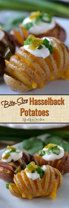 Bite-Size Hasselback Potatoes are a perfect appetizer for the big game. Each creamy potato is loaded with cheese and bacon, then topped with sour cream, green onions and jalapeños. Best Side Dishes, Side Dish Recipes, Vegetarian Recipes, Cooking Recipes, Cooking Ideas, Diet Recipes, Grilled Side Dishes, Potato Appetizers, Hasselback Potatoes