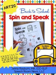 Back to School Spin and Speak: Articulation and Phonology Homework or Speech Therapy worksheets for Spring and Summer. This packet is all black and white for a print and play easy therapy tool. This download includes 38 Spin and Speak game worksheets for articulation and phonology practice.