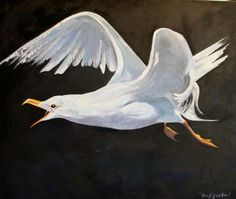 """Fred Gowland 'The Gull' Oil on Canvas framed 4"""" x 3"""""""