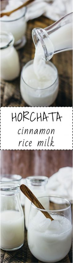 HORCHATA. A creamy white rice milk with blended cinnamon, vanilla, and honey that is perfect for a hot, summery day. This is so refreshing to drink when served over ice cubes.