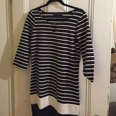 The Limited dress A navy blue and white stripes dress from the Limited.  Worn it a few times still in very good condition. The Limited Dresses Midi