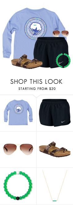 """Procrastination"" by auburnlady ❤ liked on Polyvore featuring NIKE, Ray-Ban, Birkenstock and Gorjana"