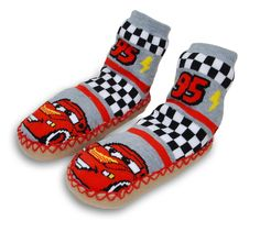 Toddler Boys Cars Lightning McQueen Slipper Socks w/ Grippers 3T-4T