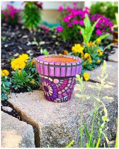 Mosaic Vase, Mosaic Flower Pots, Pebble Mosaic, Mosaic Garden, Small Flower Arrangements, Small Flower Pots, Mosaic Stepping Stones, Mosaic Projects, Craft Projects