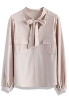 Refined Tie-bow Chiffon Top in Pink - New Arrivals - Retro, Indie and Unique Fashion