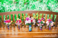 Vibrant garden bridal bouquets. (Flowers by Lee Forrest Design, photo by Claire Pacelli Photography)
